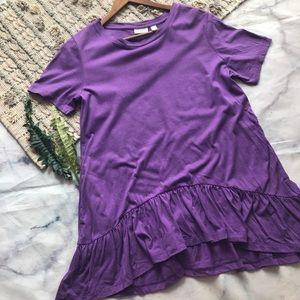 LOGO by Lori Goldstein Purple Peplum Tunic (M)